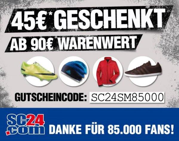 SC24.com: 45 Euro Gutschein - ab 90 Euro Warenwert!
