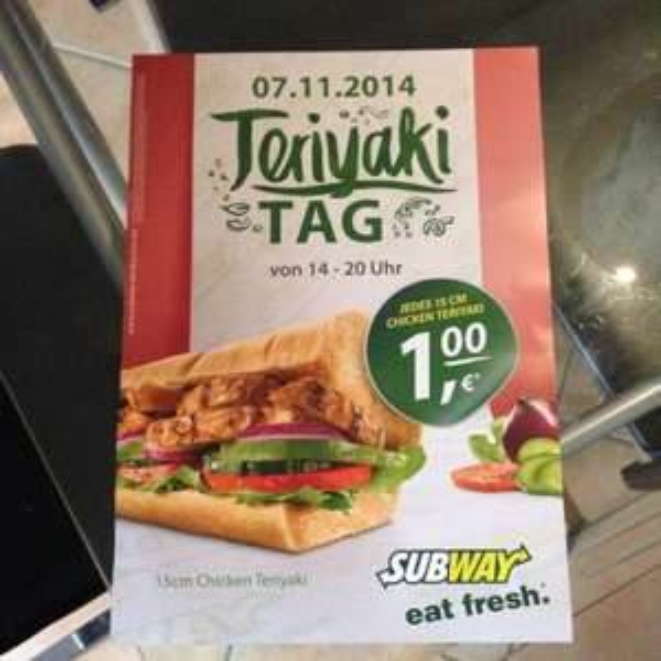 Subway - Teriyaki Tag am 07.11.2014 von 14 bis 20 Uhr (Lokal - Leipzig)