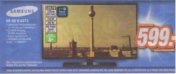 [Expert Döring ] Samsung UE55H6273 138 cm (55 Zoll) LED-Backlight-Fernseher, EEK A+ (Full HD, 200Hz CMR, DVB-T/C/S2, CI+, WLAN, Smart TV) schwarz 599€
