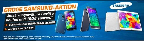 100€ Samsung Aktion auf S5, Alpha, Tab S bei saturn.de - z.B. Galaxy S5 für 371€