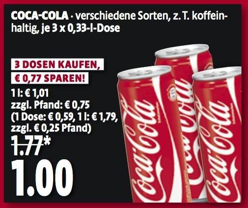 [Lokal Kaisers/Tengelmann] 3x Coca Cola 0,33 Liter (oder andere) für 1 Euro (exkl. Pfand)