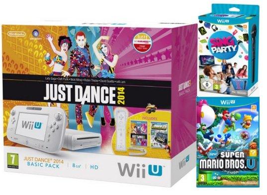 Nintendo Wii U Just Dance 2014 Bundle mit New Super Mario Bros. U, Sing Party U und Nintendoland