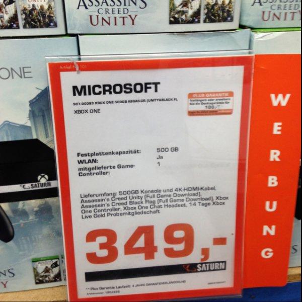 Xbox one 500gb + Assissins Creed Unity + Black Flag + 2 Wochen Gold im Saturn Osnabrück
