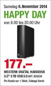 """[Schweiz microspot.ch] WESTERN DIGITAL Festplatte 3.5"""" 5TB USB3.0 177 CHF ->147€"""