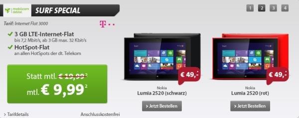 3 GB Telekom LTE Internet Flat + Nokia Lumia 2520 effektiv 0,40€ pro Monat