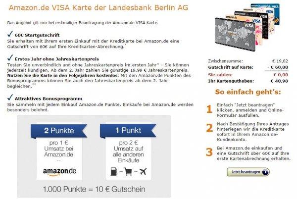 Amazon Visa Karte mit 60 € Startguthaben