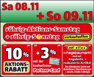 Verkaufsoffener Sonntag Hagebaumarkt in 56253 Treis-Karden - 10% auf alles + 3% mit kostenfreier Partnercard