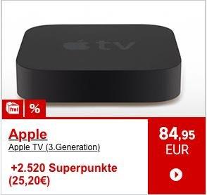 Apple TV 3. Generation für 84,95€ + 15€ Gutschein + 25,20€ in Superpunkten, über 50% Rabatt