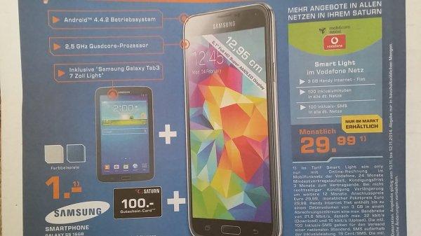 Samsung Galaxy S5 16 GB + Samsung Galaxy Tab 3+ 100 € Saturn Gutschein