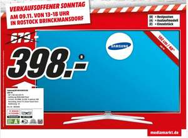 [Lokal] Media Markt Rostock Samsung UE40H6470 für nur 398€ bzw. 388€