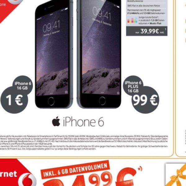 Iphone 6 16 gb Vodafone Smart xl 39.99 iPhone 1 Euro wer samstags kommt ap frei insgesamt Ca 960 Euro