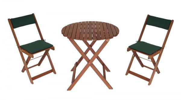 3-teiliges Balkonset PORTLAND Eukalyptus mit Polstern grün, Tisch 70cm für 37,49€ @Ebay.de