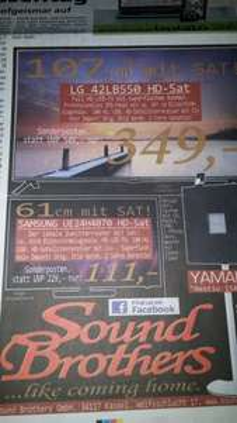 """Samsung 24"""" TV mit Sat Tuner  UE24H4070 Lokal Kassel Soundbrothers 111€"""
