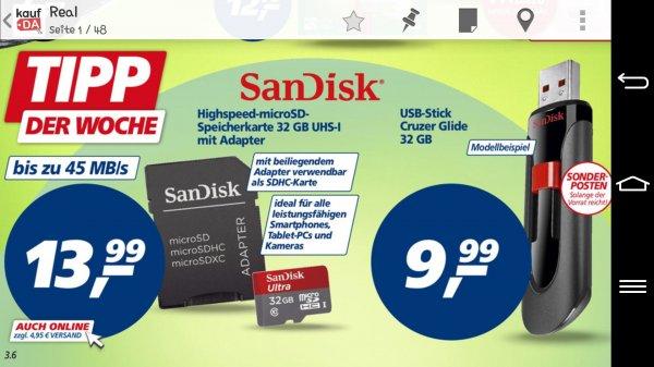 Sandisk 32gb MicroSD 13,99€ und 32gb Usbstick 9,99€