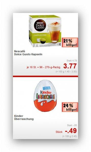 (Lokal) Bremen Kaufland Nescafé Dolce Gusto Kapseln 3,77€ / Coca-Cola, Fanta, Sprite oder Mezzo Mix 2l 0,99€ / Ü-Eier 0,49€