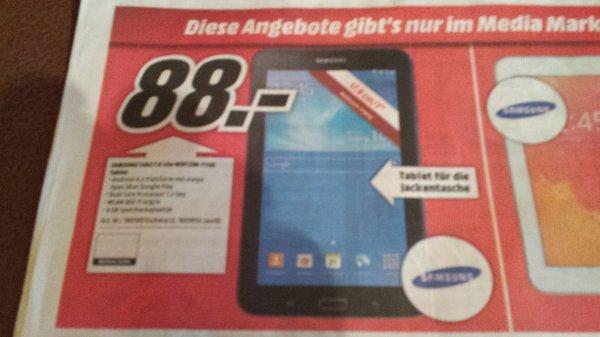 [Lokal Mediamarkt Aschaffenburg] Samsung Galaxy Tab 3 7.0 Lite Wifi 8GB (SM-T110) für effektiv 73€