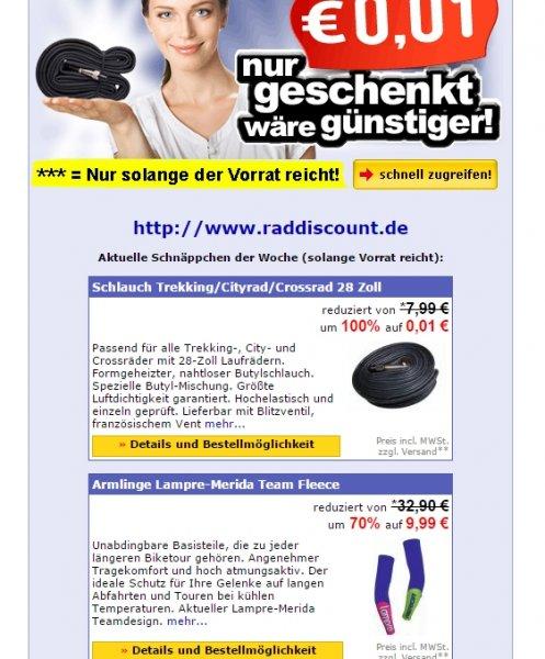 """4x28"""" Fahrradschlauch für 3,03€ bei Raddiscount.de"""