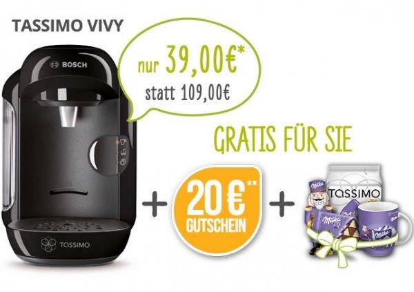 Bosch Tassimo VIVY + 20€ Gutschein + gratis Milka-set