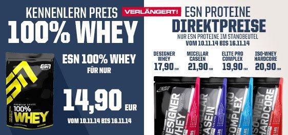 [Nahrungsergänzung für Sportler] Alle ESN Proteine reduziert, z.B. 100% Whey für 14,90€/kg