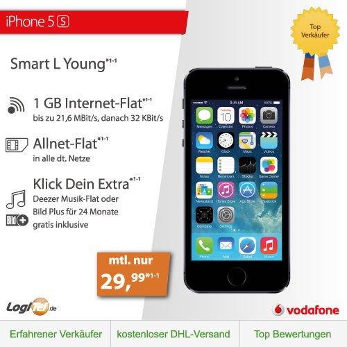 (ebay logitel) iphone 5s 16GB | Vodafone Smart L | mtl.29,99€, ohne zuzahlung
