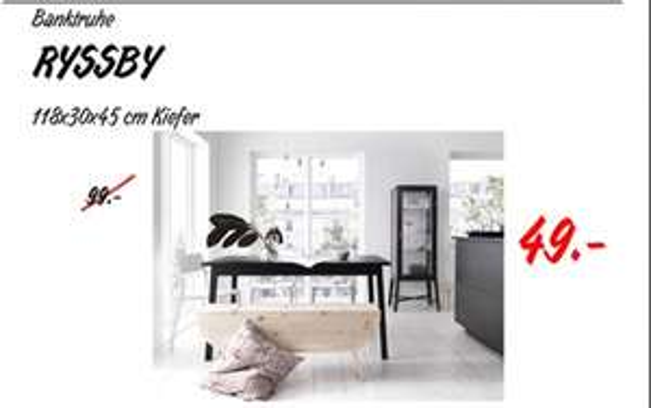 [Lokal IKEA Osnabrück] RYSSBY 2014 Banktruhe Massive Kiefer für 49 € (statt 99 €)