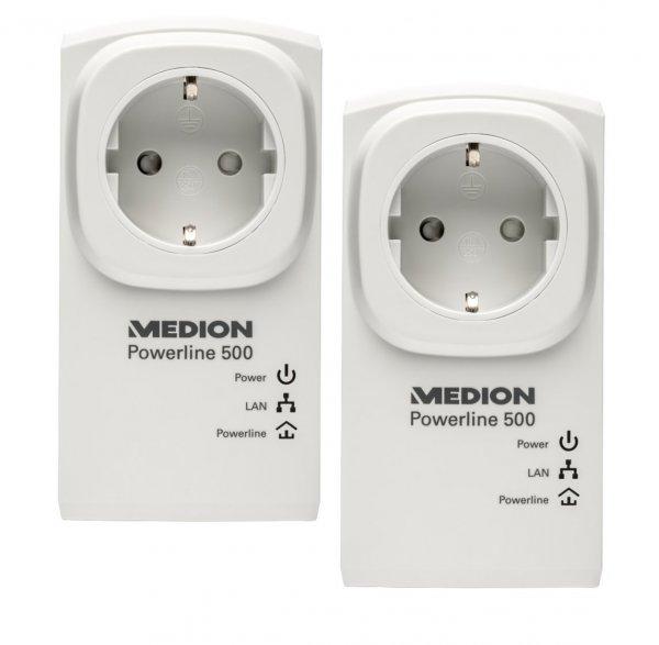"""Medion™ - 2er-Set Powerline Adapter """"MD 90215"""" (500Mbit/s,Steckdose) ab €28,94 [@Medion.de]"""