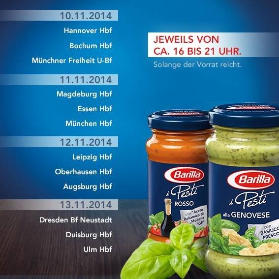 [diverse Städte] Verteilung Barilla Pesto - neue Termine (u.a. München, Leipzig, Essen, Dresden, Duisburg, Ulm..)