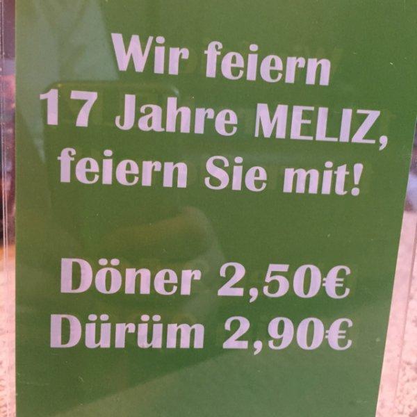 Lokal Dresden: Meliz Döner feiert 17Jähriges - Döner 2,50€ / Dürüm 2,90€