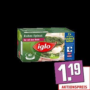 Iglo Rahm-/Blatt-/Würz- oder lactosefreier Spinat / Rewe offline