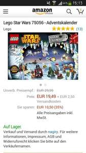 Lego StarWars Kalender 2014