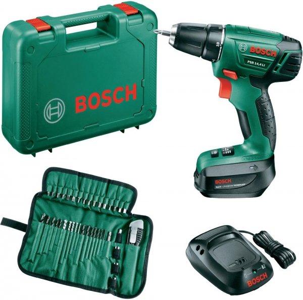 Bosch PSR 14,4 LI Akku-Bohrschrauber 14.4 V 1.5 Ah Li-Ion + Akku + Zubehör + Koffer für 87,89 € @Voelkner
