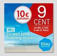 Blau.de Prepaidkarte mit 10€ Startguthaben Kostenlos - auch für PSN Guthaben