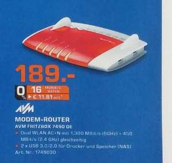 AVM Fritz Box 7490 Saturn Flensburg für 189€