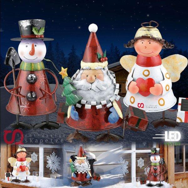 LED Weihnachtslampe Solar 3 Figuren zur Wahl Nikolaus Schneemann Engel