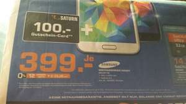 [Saturn Saarbrücken] Samsung Galaxy S5 inkl. Gutschein über 100 €