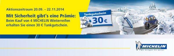 30,00 Euro Tankgutschein beim Kauf von vier Michelin Winterreifen via reifen.com