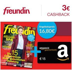 [Qipu] 6 Ausgaben freundin für 16,80€ + 15€ Amazon Gutschein + 3€ Cashback
