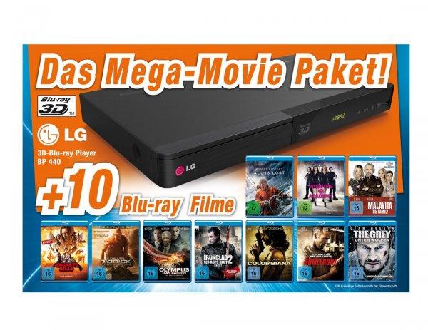 LG Blu-ray Player Bundle BP 440 BUNDLE mit 10 Blu Ray Filmen (FSK: 16) für 99 € (bei Abholung) > [expert.de]