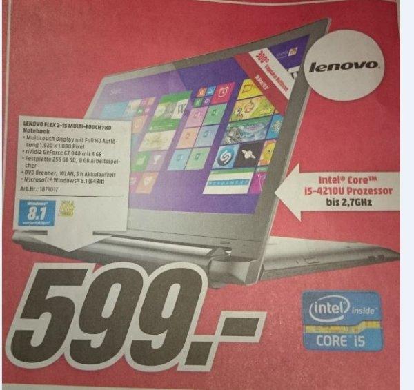 (Lokal Media Markt Zwickau) Lenovo Flex 2-15 Multi-Touch FHD Notebook