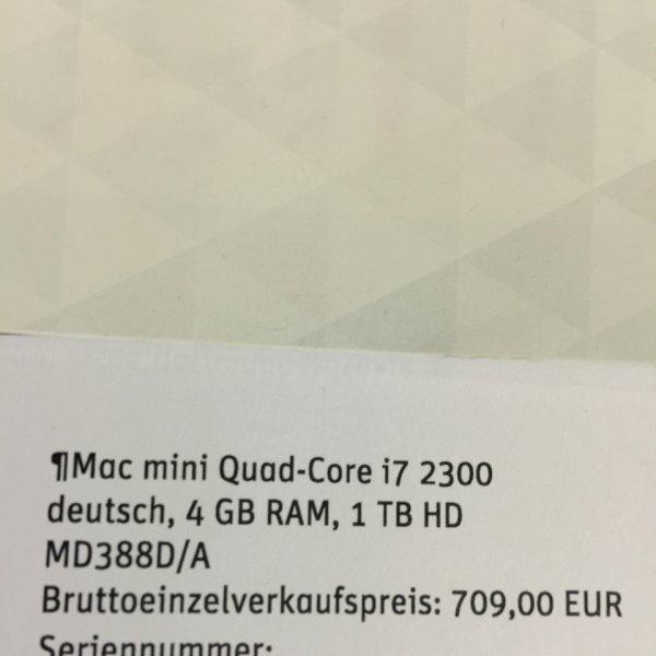 Mac Mini Quad-Core i7 2,3 4GB Ram 1 TB HDD