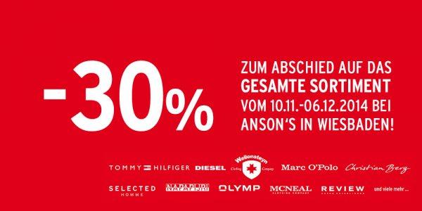 30% auf alles! Ansons Wiesbaden Räumungsverkauf