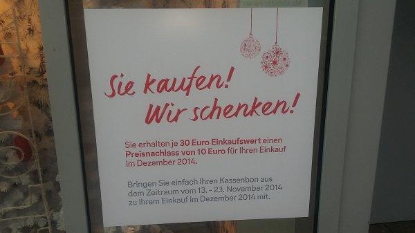 C&A: Je 30 Euro Einkaufswert gibt es einen Preisnachlass von 10 Euro für Ihren Einkauf im Dezember 2014
