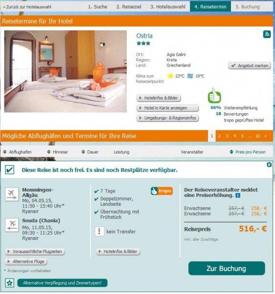 Urlaub Kreta 1 Woche im Mai 2015: Pauschalangebot für nur 258€ p. P.