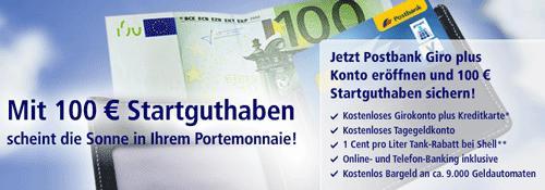 100€ Prämie bei Girokontoeröffnung von Postbank ab 19Uhr