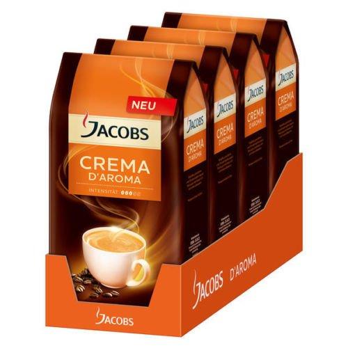 WOW Jacobs Crema d Aroma 4er Pack, Kaffee ganze Bohnen, Kaffeebohnen, 4000g