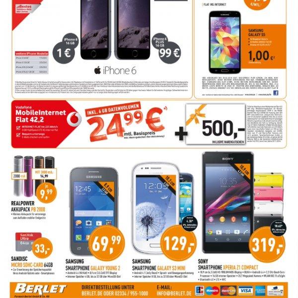 Berlet dealz iPhone 6 1€ iPhone 6 plus 99€ Vodafone Smart xl 39.99 oder Micro sd sandisk 64 gb 33€ Lokal oder auch Deutschland weit