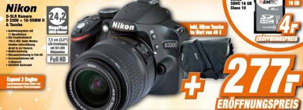 Lokal Nikon D 3200 + Objektiv (18-55mm) inkl. Nikon Tasche @ Expert Garbsen, Neustadt, Wunstorf, Laatzen, Langenhagen