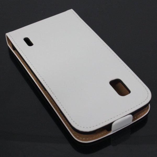 Nexus 4 Echtledertasche in weiß inkl. Displayschutzfolie