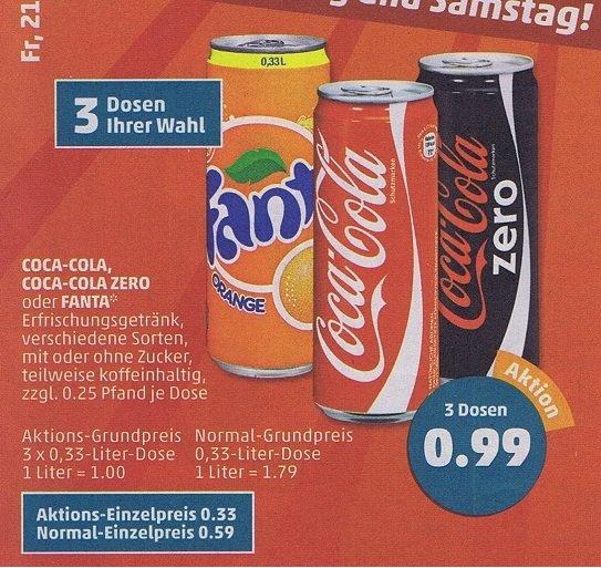 [ Penny ] 3 Dosen (0,33l) Coca Cola (auch Zero) ,Fanta für 99 Cent