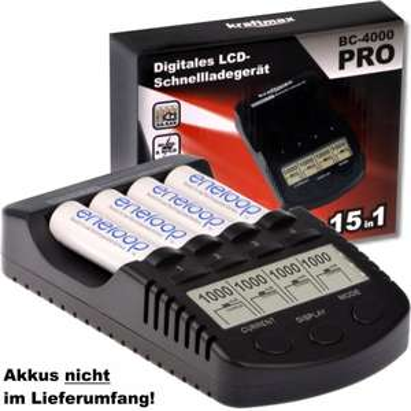 [Amazon] Kraftmax BC-4000 Pro - Akku Ladegerät optimiert für Eneloop für 25€